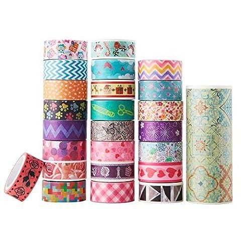 AUFODARA 25 Rolls-Set Mix Designs Washi Masking Tape Decorative Sticky Adhesiv Craft DIY Collection (25pcs / set)