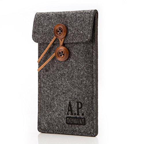 A.P. Donovan - Filz-Tasche Filzhülle - Schutzhülle - Handy-Socke aus Filz - Hülle Tasche aus Stoff Sleeve - Handy-Tasche - Grau, iPhone 5 / 5s