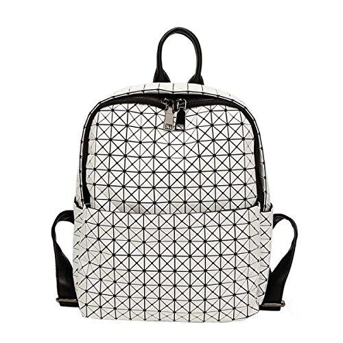 Frauen-Silikon-Rucksack Geometric Folding Schultertasche Handtasche White