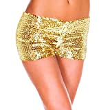 Pailletten Shorts Luckycat Sommerhosen Damen Kurz Mode Frauen Hohe Taille Yoga Shiny Sport Hosen Shorts Metallic Hosen Leggings Shorts Hose Sommerhosen Pants Hosen (Gold, Small)