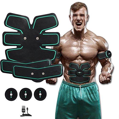 4 X Neue Toner ([2017 neue Version] Ab Toner ab Trainer EMS Training Muscle Toner Electronic Muscle Besucher für Bauch Arm Bein unterstützen Männer & Women Wireless)