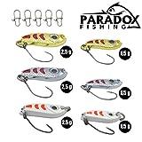 Paradox Fishing Forellen Spoon Set 6 Spoons 1,5 g - 2,5 g mit Box und 5 Snaps Forellenköder Set zum Forellen Angeln Barsch Köder Forellen Blinker - Spoons Forelle