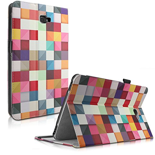 Samsung Galaxy Tab A 10.1 Hülle Case, Infiland Slim Fit Folio PU-lederne dünne Kunstleder Schutzhülle Cover Tasche für Samsung Galaxy Tab A 10.1 Zoll Wi-Fi/ LTE (2016) SM-T580N/SM-T585N Tablet-PC(mit Auto Schlaf / Wach Funktion)(Farbige Quadrate) (Samsung Tablet Tasche Für Auto)
