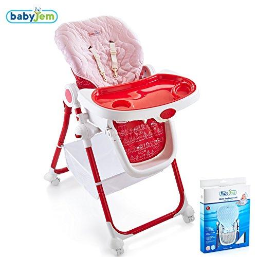 Hochstuhl Matte (BABYJEM Ersatzbezug Bezug für Hochstühle Sitzkissen Matte Auflage 100% Baumwolle Schützt das Kind vor dem Kontakt mit dem Plastik Verhindert das Schwitzen Universal Waschmaschinenfest (Rosa))