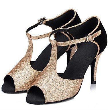 Ouro Sapatos Camurça Salto Xiamuo dançar Paillette Não Ouro Latina Personalizáveis Agulha Preto Senhoras qwPZYI