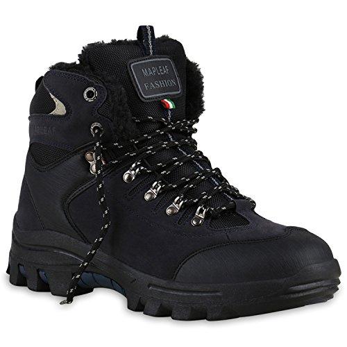 Warm Gefütterte Herren Boots Outdoor Schuhe Schnürer Kunstfell Schwarz Blau