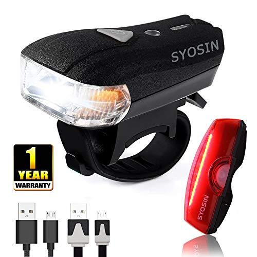 SUPERSTA Luces de Bicicleta, Sensores Inteligentes LED Recargables Faros Delanteros y Luces Traseras 400LM Super brillantes e Impermeable Seguridad Luz para Bici De día y de noche Ciclismo