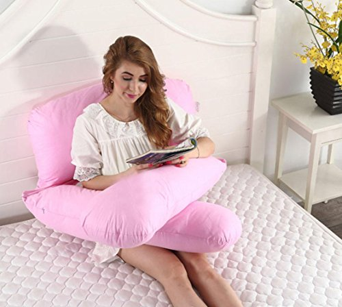 GxNI Femmes Enceintes Coton Taille Sommeil Oreiller U-Type Multi-Fonctionnels (140 * 80cm), Pink, 140 * 80cm