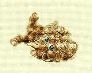 "DMC ""Kitten Playing"" Cross Stitch Kit, 100 Percent Cotton, Multi-Colour"