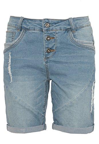 Fresh Made Boyfriend Jeans | Jeans-Shorts Used Look für Damen - Top Qualität und Tragekomfort dank hohem Baumwollanteil light-blue L (Boyfriend Jeans-shorts)