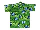 Ontop-Fashion Hawaiihemd Hawai Freizeit Hemd Shirt Viskose grün Hibiskus groß blau, Größe:3XL