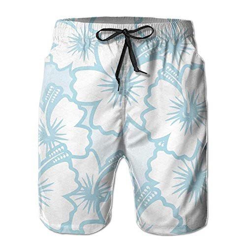 PhqonGoodThing Men's Flower Hibiscus Hawaii Quick Drying Ultra Light Beach Pants Swim Trunks Hibiscus Night Light