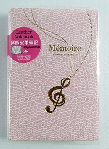 Memoire-Leder wie Liniertes Notebook mit Gold Stamped Violinschlüssel Halskette Design Größe: 9.5cm x 13.4cm - Pale Pink (Violinschlüssel Halskette Gold)