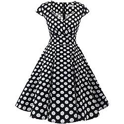 Bbonlinedress Vestido Corto Mujer Retro Años 50 Vintage Escote En Pico Black White BDot XS