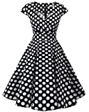 bbonlinedress 1950er Vintage Retro Cocktailkleid Rockabilly V-Ausschnitt Faltenrock Black White BDot XL