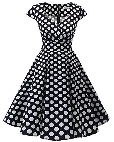 Bbonlinedress Robe Femme de Cocktail Vintage Rockabilly Robe plissée au Genou sans Manches col carré Rétro Black White BDot XS