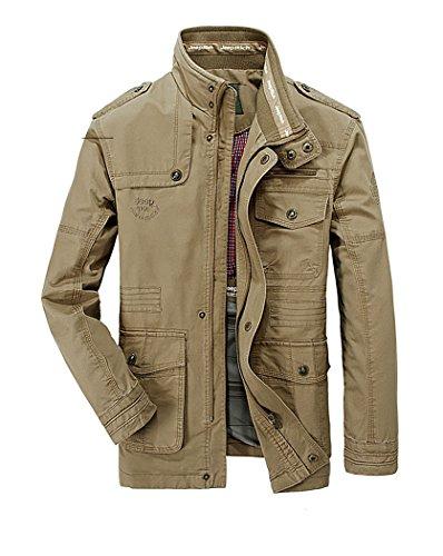 Hombres chaqueta Primavera otoño e invierno Algodón Militar Chaqueta (X-Large=Tag 3XL /Ches 124cm, Caqui)