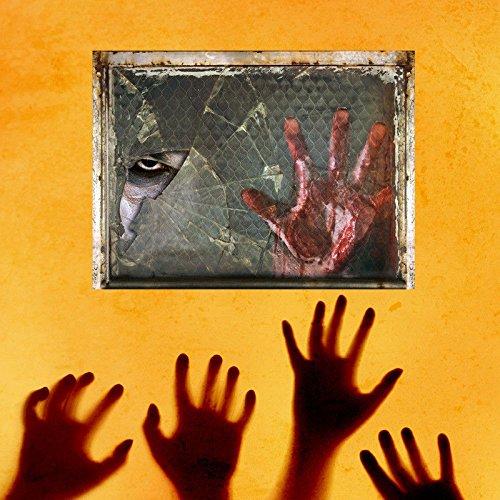 (Wandtattoos Wandbilder 3D Wandaufkleber gefälschte Fenster Poqiang Palme Wandaufkleber Schlafzimmer Bar beängstigend Wandaufkleber 45 * 60)