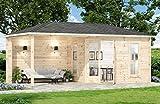 Alpholz 5 Eck Gartenhaus LIWA-28 aus Massivholz, 28 mm Wandstärke (595 x 300 cm)