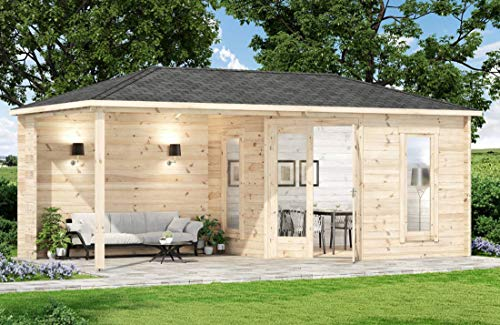 Alpholz 5-Eck Gartenhaus Liwa-28 aus Massiv-Holz | Gerätehaus mit 28 mm Wandstärke | Garten Holzhaus inklusive Montagematerial | Geräteschuppen Größe: 595 x 300 cm