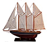 osters muschel-sammler-shop 3-Master Segelschiff MARCO POLO - Modellschiff/Dekoration/Standmodell/Modellsegelschiff/Gaffelschoner/Großsegler
