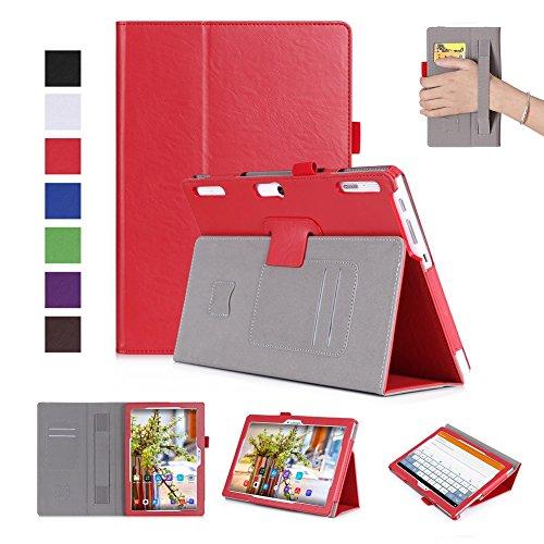 ISIN Custodia Tablet Serie Premium Pelle PU Stand Cover per Lenovo Tab 2 A10 10 pollici Tablet con Cinturinoi in Velcro e Slot per Schede (Rosso)