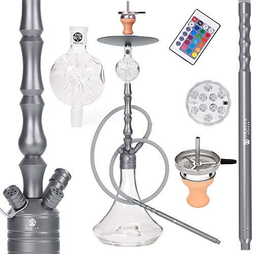 ORACLE HOOKAH® Shisha Set Wasserpfeife Aluminium Komplettset 90cm mit Zubehör wie LED Schlauch Kopf Alu Mundstück Molassefänger