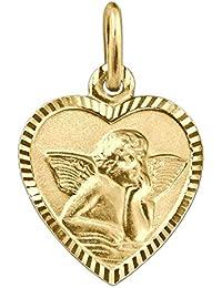 CLEVER SCHMUCK-SET Goldener Anhänger Herz 11 x 10 mm schmal mit Engel klassisch seidenmatt Rand glänzend diamantiert Rückseite Gott schütze Dich 333 GOLD 8 KARAT