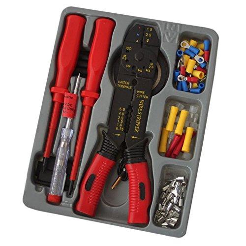 Preisvergleich Produktbild KFZ Auto Elektronik Werkzeug Set Crimpzange Abisolierzange VDE Schraubendreher 82Tlg Aderendhülsen