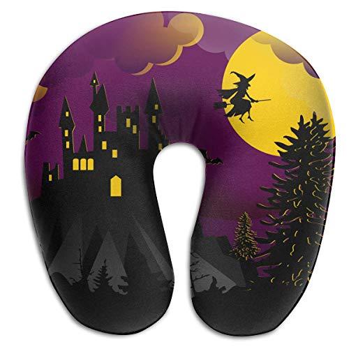 Voxpkrs Memory Foam Neck Pillow Halloween Night Wicth Bat House U-Shape Travel Pillow Ergonomic Contoured Design Washable Cover (Bat House Kit)