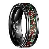 Nuncad Ring Damen/Herren Wolfram schwarz mit roten Keltischen Drachen Gravur und grünen Opalmustern, Unisex Ring 8 mm breit für Jahrestag, Hochzeit und Freizeit, Größe 54 (14)