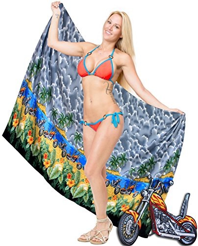 La Leela vestido de la falda de las señoras de las mujeres ropa de playa Aloha traje de baño de la cubierta del abrigo hasta alineada gris pareo de flores