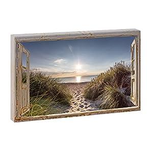 Fensterblick – Zum Strand 2 | Panoramabild im XXL Format | Poster | Wandbild | Fotografie | Trendiger Kunstdruck auf Leinwand | Verschiedene Formate (Farbig, 40 cm x 60 cm | Querformat)