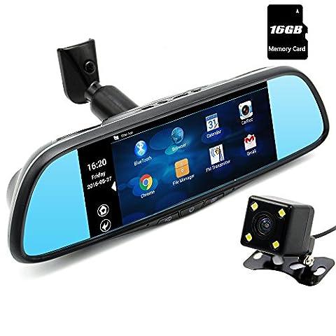 Junsun Rückspiegel mit Auto-Videokamera, 1080p, duale Linse, Dashcam, Android, mit Bluetooth GPS Navigation, 5 Zoll Display