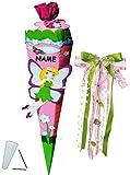 alles-meine.de GmbH BASTELSET Schultüte -  Elfe - Schmetterlings Fee & Blumen  - 85 cm - incl. großer Schleife + Name - mit / ohne Kunststoff Spitze - Zuckertüte - Set zum selb..