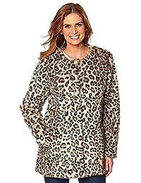 Vacaciones Suitcase-Stunning PELOS Sintéticos Estampado Leopardo Chaqueta Abrigo Talla ...