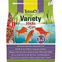 Tetra Pond Variety Sticks Fish Food, Mix of Three Different Food Sticks for All Pond Fish, 4 Litre