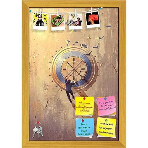 Artzfolio Man Climbing On Wall Trying To Open Safe Printed Bulletin Board Notice Pin Board | Golden Frame 16 X 23.3Inch