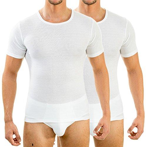 HERMKO 63840 2er Pack Herren Funktionsunterwäsche Shirt mit 1/4 Arm, Rundhals (Weitere Farben), Farbe:weiß, Größe:D 9 = EU 3XL