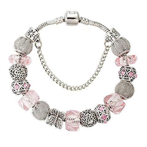 Armband für Frauen, weiße Glasperlen, Schmetterling, großes Loch mit Perlen, handgefertigt