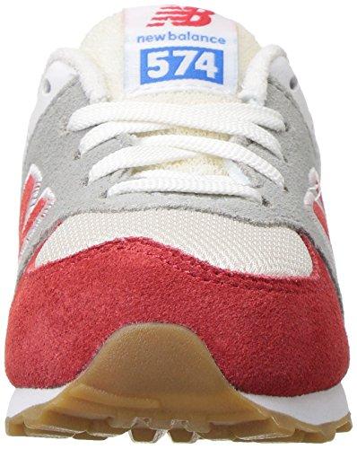 New Balance 574 High Visibility, Baskets Basses Mixte Enfant rouge/blanc