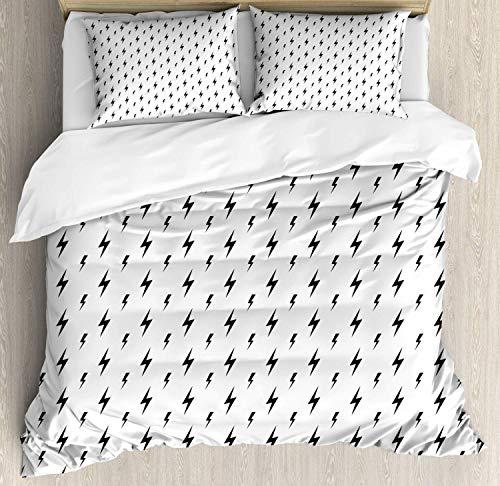 Marchico 4-teiliges Bettwäsche-Set, Ultra-weich, Bettbezug-Set mit 2 Kissenbezügen, Bettüberwurf mit Zick-Zack-Muster, einfache stilisierte Illustration, Polyester, weiß/schwarz, King Size