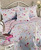 Vintage floral Baumwolle Tagesdecke Luxus Shabby Chic Gesteppt Bett Überwurf wendbar, 100 % Baumwolle, Blau und Pink, Kissenhülle 45,7 x 45,7 cm