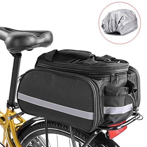 Brinny Fahrradtaschen Fahrrad Gepäcktaschen Rücksitz Tasche wasserdichte Satteltasche Fahrradträger Gepäckträger Tasche Tragbare Seitentasche Rahmentaschen mit Reflektierender und Regenschutzdeckel