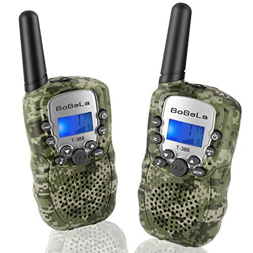 Bobela T388 Walky Talky Kinder Funkgeräte Set mit Taschenlampe LCD Dispplay / VOX PMR Lizenzfrei Walkie Talkie 8 Kanal 0.5w 3km Woki Toki Geschenke für Urlaub Weihnachten (2er-Set, Tarnung) (Urlaub Geschenk-sets)