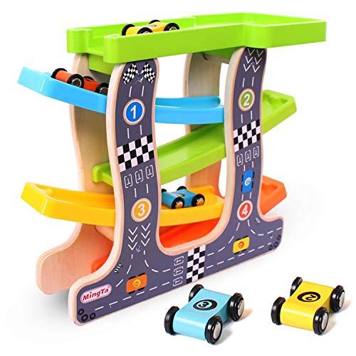 Jacootoys Wooden Race Car Track Parkhaus Vorschulspielzeug für Kleinkinder Ramp Racer mit 4