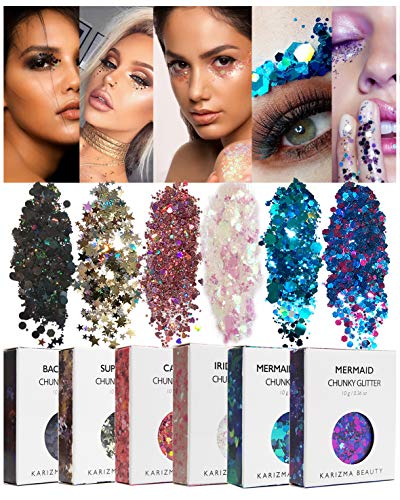 Face Glitter Pack by KARIZMA Beauty // 60 g Festival Glitter Cosmetic Chunky Face Körper