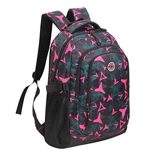 AllureFeng Outdoor-Bergsteigen Tasche Rucksack Mode Freizeit männliche und weibliche High-School-Schüler Rucksäcke Wanderrucksäcke rose red
