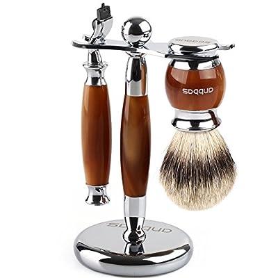 Anbbas Mens Starter Wet Shaving Badger Brush Stand and Razor Handle Kit