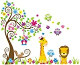 Rainbow Fox Jungle owl scroll tree wall decor sticker woodland animals nursery art decor mural for boys girls baby bedroom removable (230cmx150cm)